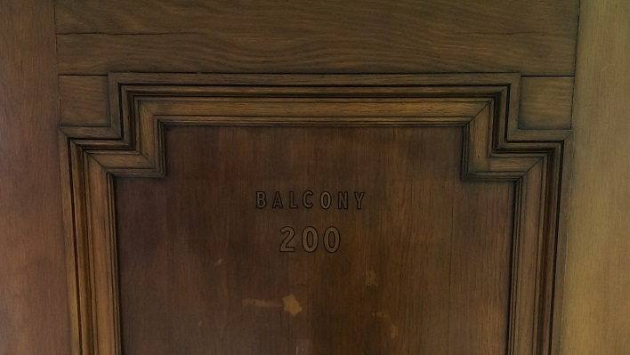 Door to the 3rd floor balcony of the main lecture hall in Campbell Hall on OSU Campus (Photo by Anita Parker, April 2014)