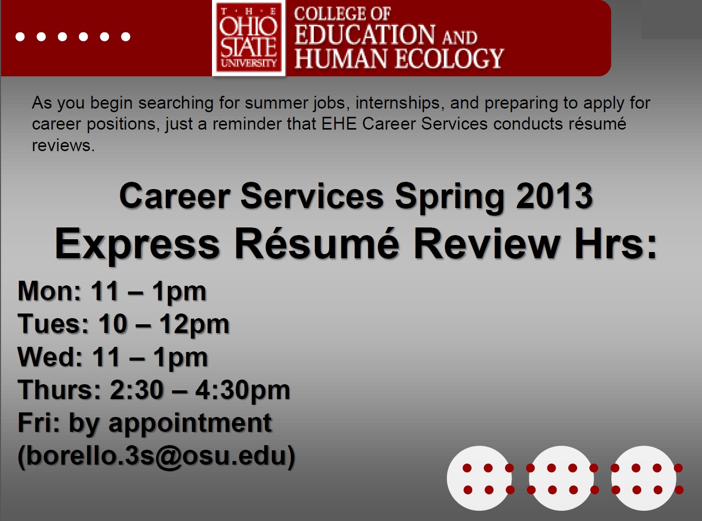 the ohio state university anita parker osu 2013 application career college of education and human ecology osu resume review services spring the ohio state university